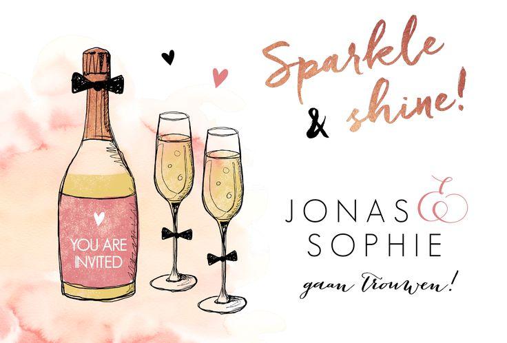 Gave trouwkaart met handgetekende illustratie van champagne en glazen. Super feestelijk!