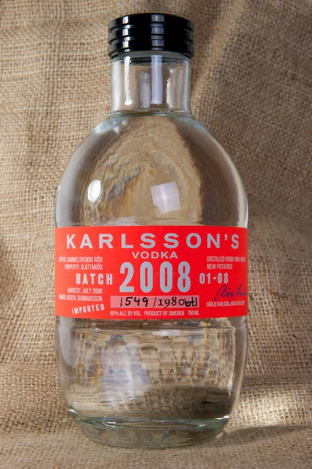 Karlsson's Vodka Batch 2008 - Prized for its silky mouth feel and distinct flavor, Karlssons began in 2001 when a group of Swedish potato farmers sought a way to improve their business. At the behest of Peter Ekelund—well-known as an entrepreneur who had helped launch Absolut in the 1970s—the group began working together as a collective and immediately saw an uptick in demand for their Swedish-grown spuds. (via coolhunting.com)