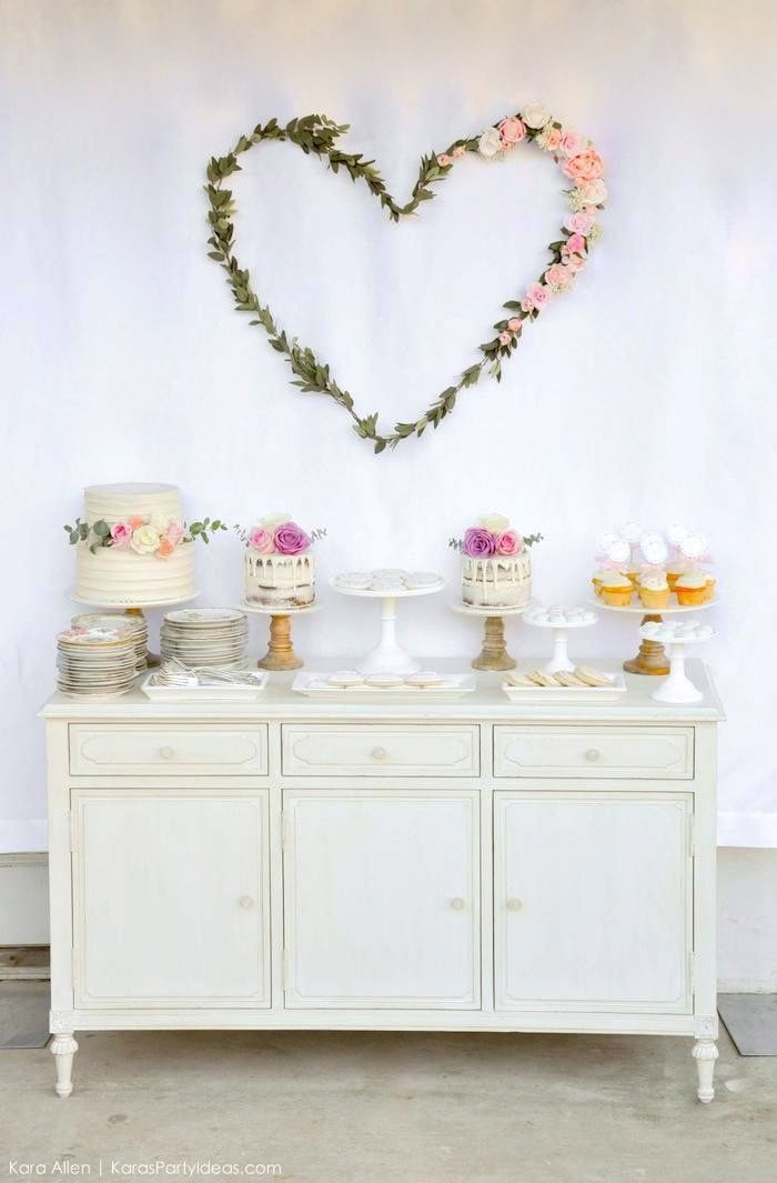 Dessert table at a floral chic baby blessing luncheon by Kara Allen | Kara's Party Ideas LDS Blessing Ideas
