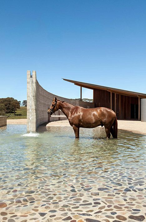 Equestrian centre on Australia's south coast features a curving rammed-earth wall.