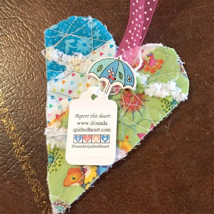 This heart was found at the corner of Washington Street and Humboldt Street in Yountville, CA in a magazine box. It was a very pleasant surprise! #ifaqh #ifoundaquiltedheart