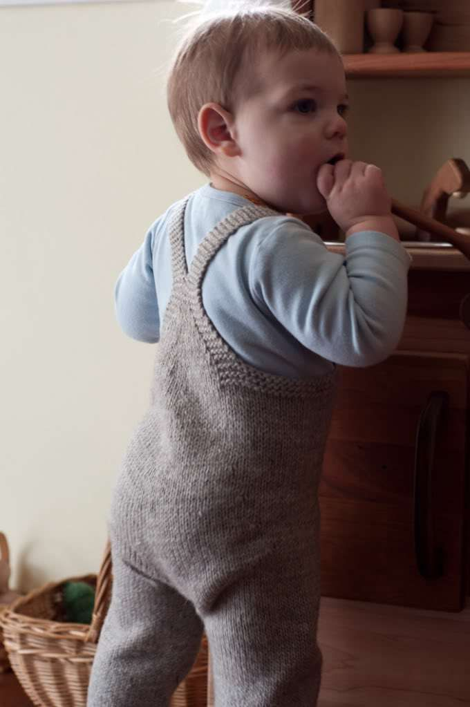 Free knitting pattern for On the Go-veralls toddler overalls - Heidi Lehman's overalls are sized for 0-6mos 6-12mos 12-18mos 2T 3T