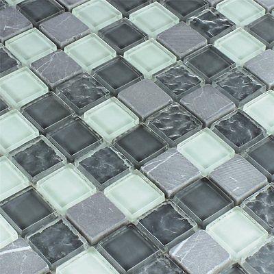 Glas Marmor Mosaik Grau Mix