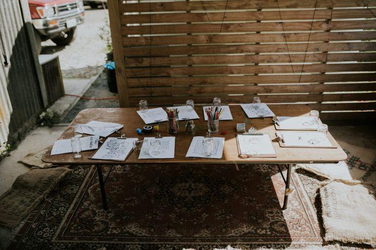 kids' table for a DIY barn wedding