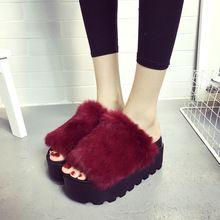 Piel Real zapatos de mujer flip flops 2016 invierno zapatillas de diseño zapatos de las cuñas mujer diapositivas casa zapatillas de piel de pelo de conejo de peluche zapatos(China (Mainland))