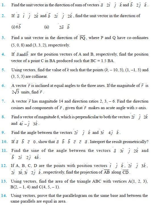 Class 12 Important Questions for Maths -Vector Algebra