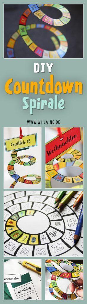 Anleitung zum Basteln einer DIY Countdown Spirale - meditatives Ausmalen für Erwachsene und Kinder, Geschenk für Menschen, die auf Weihnachten, Geburtstag, Rente, Hochzeit, Ostern, Ferien, Volljährigekeit, Heimkehr, Abreise oder was auch immer warten. 65 Tage als Spirale zum täglichen Abschneiden.  Ein kleines Do it yourself von Wi-La-No #WiLaNo