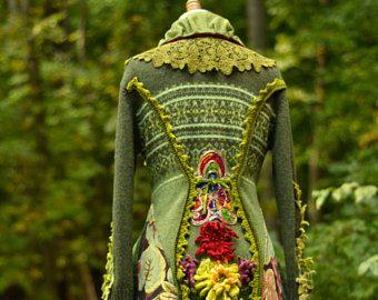 Aangepaste boho trui jas voor Jackie. Op maat gemaakte OOAK Fantasy kleding/refashioned omhoog fietste bovenkleding/Pixie Woodland stijl kleding