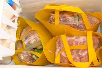 If you do stuff, stuff gets done: Chest freezers cost less to buy and power than upright freezers but they do take some tricks to organize. Most of the meat we have is bought in bulk and then I repackage it, so they are usually irregular sized and don't stack well. I got 3 reusable grocery bags, sorted the meat, and voila!