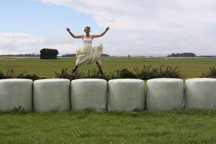 Balage bales. Trash my wedding dress