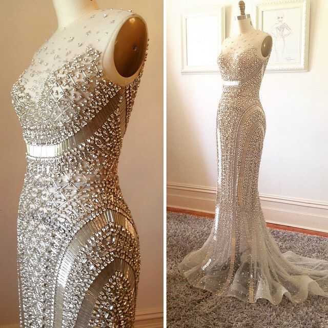 Paulo Sebastian Embellished Gown (Available from: http://www.aliexpress.com/item-img/Rhinestone-Gowns-2016-Luxury-Beaded-Robes-Abendkleider-Silver-Women-Formal-Dresses-Mermaid-Crystal-Great-Gatsby-Evening/32556423660.html)