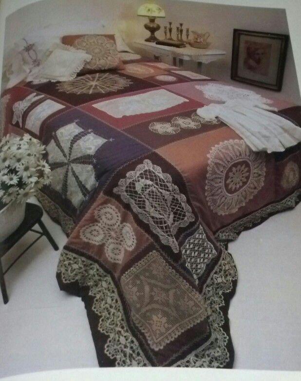 Lace & doily appliqué quilt.