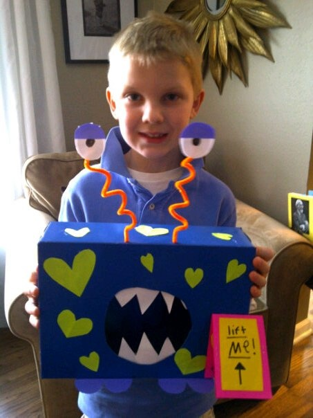 Monster Valentines Day Box for his box at school