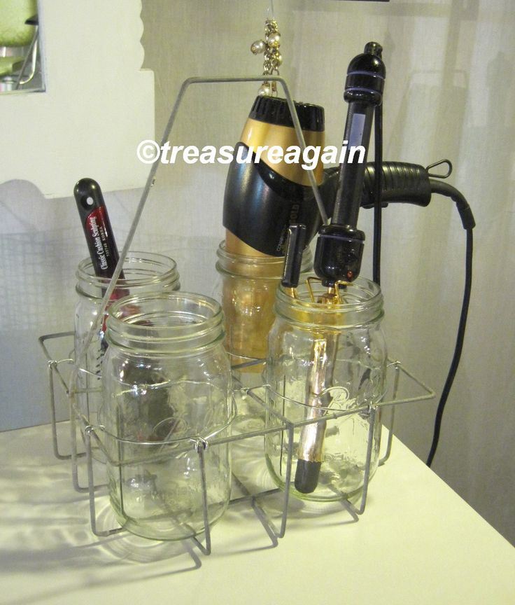 Mason Jar Hair Station Caddy made for nieces dorm room, by treasureagain@etsy   Antique Dairy Basket & wide mouth jars, hold irons & dryer securely & safely if accidentally left on. http://etsy.me/1zuMUcE