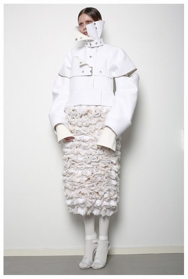 Conceptual Fashion Design - constricted jacket & textured skirt; sculptural fashion // Patrik Guggenberger