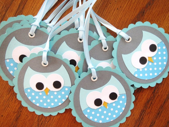 Blue Owl Gift Favour Birthday Party Baby Shower by Wildflowercraft, $9.50