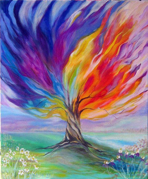 Las 25 mejores ideas sobre lienzos de pintura de rbol en - Cuadros modernos con mucho color ...