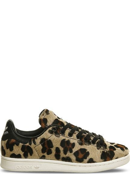 ADIDAS Stan smith leopard-print pony-hair trainers