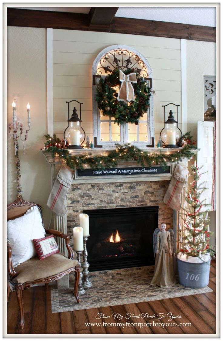 Christmas Lights Behind The Window French Country Mantel My Front Porch To Yours