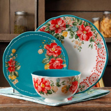 Free Shipping. Buy The Pioneer Woman Vintage Floral 12-Piece Dinnerware Set at Walmart.com