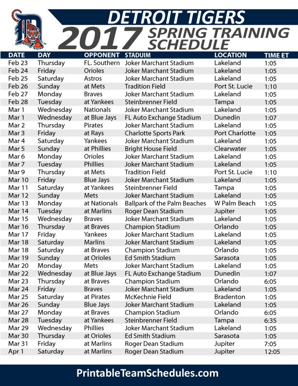 Detroit Tigers Spring Training Schedule 2017. Print Here - http://printableteamschedules.com/MLB/detroittigersspringtraining.php