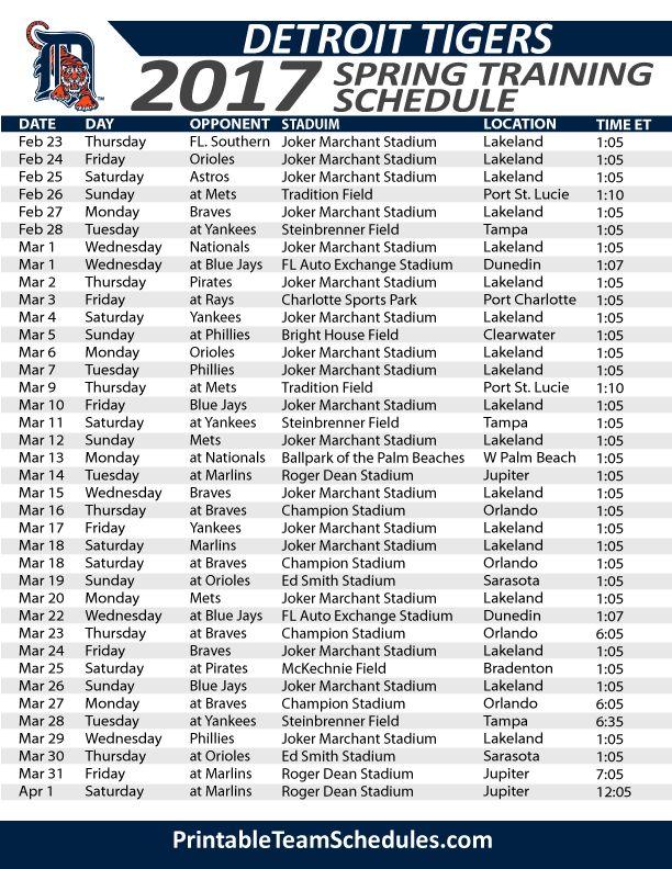 Detroit Tigers Spring Training Schedule 2017. Print Here - http://printableteamschedules.com/MLB/detroittigersspringtraining.php