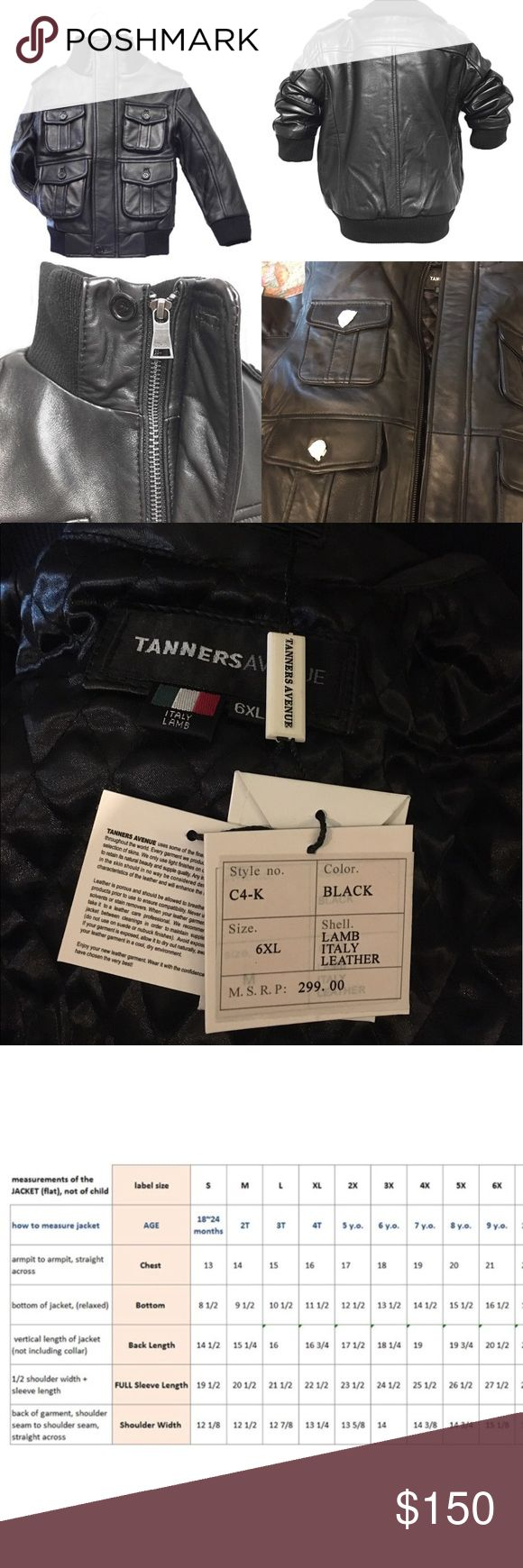 Black Leather Military Kids Bomber Jacket Brand new with tags!!, Can be worn for boys or girls size 6X, 100% Soft, Authentic Lambskin Leather,Bellowed pockets(2 top & 2 bottom) & all buttons are secured with mini-buttons Shoulder epailets secured by buttons,  front zipper .                                                                                                    💰Will consider official offers  📬 Fast shipping  🏡 Smoke & pet free home  📦 Bundle to save 20% 💕 Share for share…