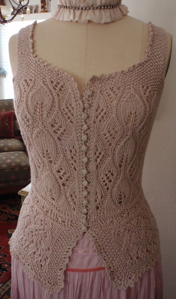 Hand Knit Lace Corset Cover Bodice Antique Victorian Edwardian Style Bohemian Steampunk Wedding
