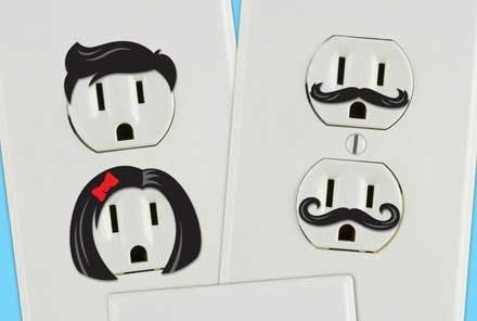 """sutekinauso:  コンセント口に表情を与えるステッカー「Creative Outlet Stickers」: DesignWorks   """
