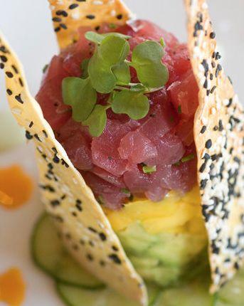 Scrumpdillyicious: Ahi Tuna Tartare Napoleon: A Towering Feast