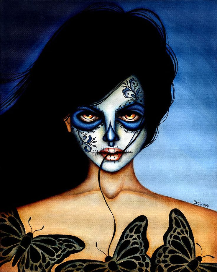 You Belong to Me Mexican Death Mask by Cat Ashworth Tattoo Art Print