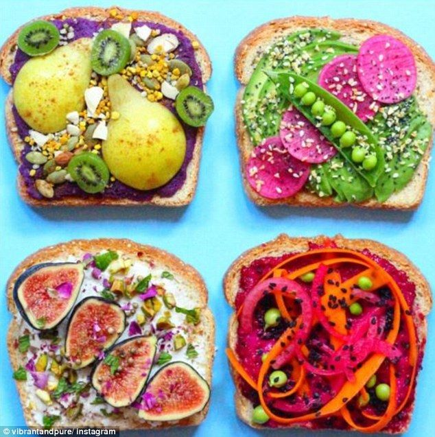 Next level: The trend sees slices of bread topped with cream cheese and almond milk - additions such as pears, figs and spiralised carrot can be added (pictured)