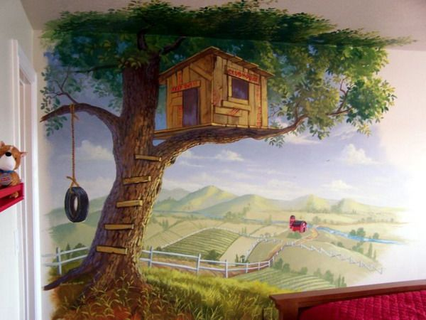 lake house? Modern Tree House Wall Murals Decorating Ideas...I'll never make it look this good, but i can do my best..without the treehouse