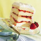 SUGAR FREE!!! Lovely layers of white cake are split and filled with strawberries and apricot preserves for a festive springtime dessert.  Spring Fling Layered White Cake