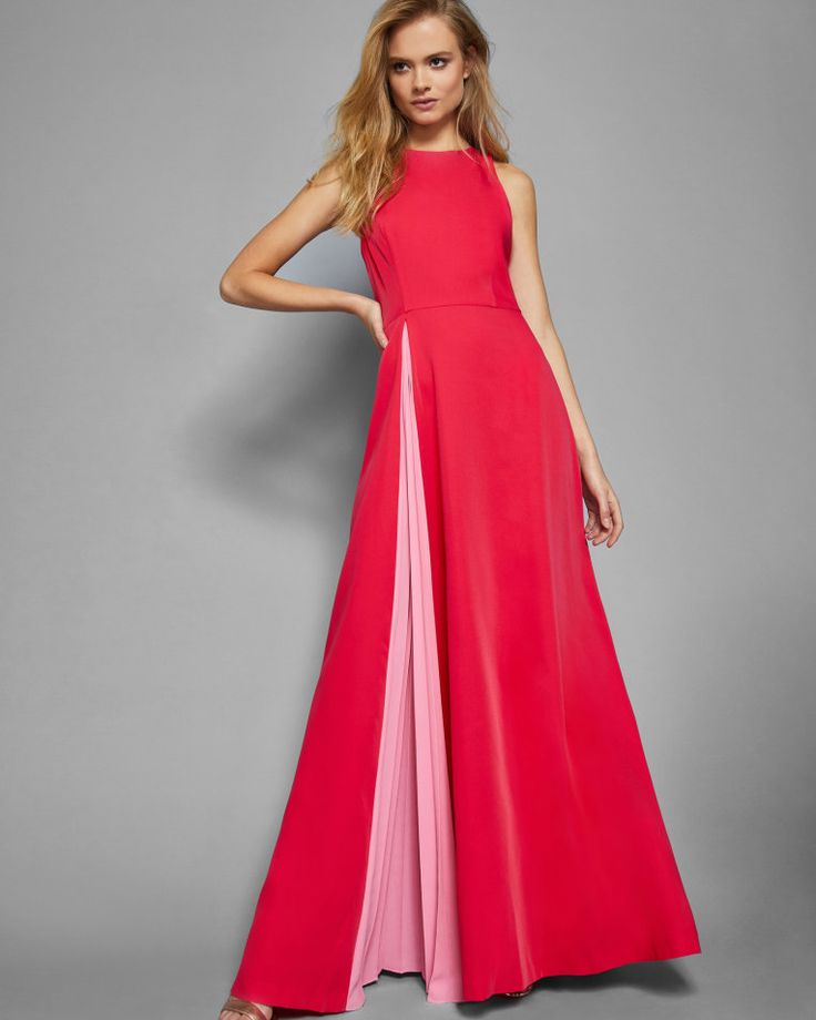 Contrast pleated panel maxi dress - Deep Pink | Dresses | Ted Baker