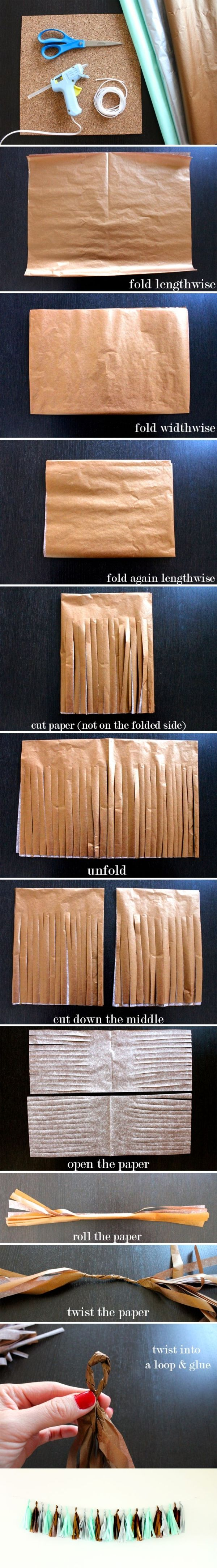 DIY : How to make a Tissue Paper Tassel Garland by victoriamajor88