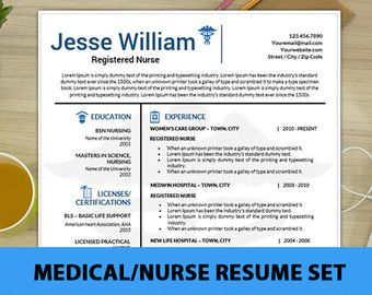 Nursing Resume Template, Medical Resume Template, RN Resume, Modern Nursing School CV, Resume Medical, Health Care Cover Letter, Instant