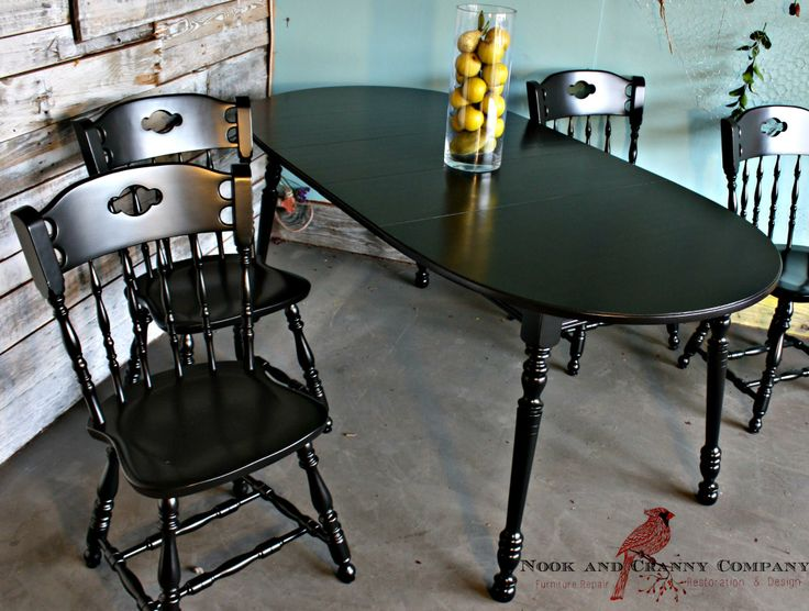 Painted Black Table And Chairs