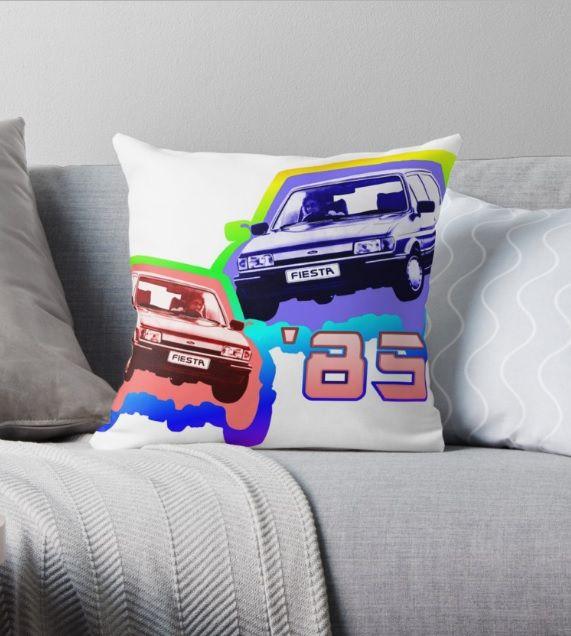 '85 Fiesta - Throw Pillow.  #1985 #cars #motors #auto #fordfiesta #fiesta #popart #eighties #1980s  #retro #popular #nostalgia #pillows #redbubble
