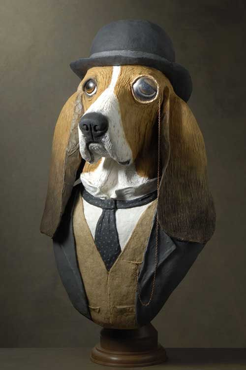 Basset Hound bust. I love how his eye is magnified by the monocle.