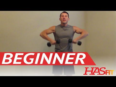 15 Minute Beginner Weight Training - Easy Exercises - HASfit Beginners Workout Routine - Strength - YouTube