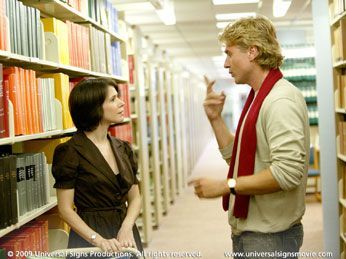 Universal Signs (2008).  Friendly librarians rock!  In this case, this is an academic librarian gaining the trust of a deaf patron.