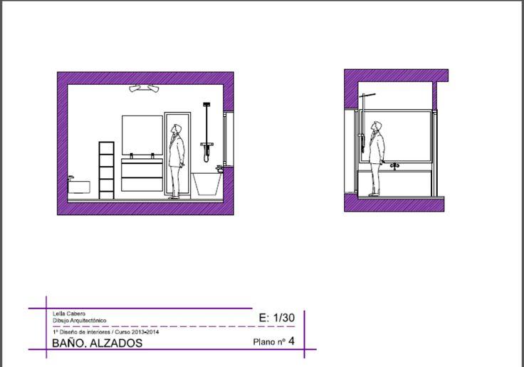 Planos de alzado de un baño, diseñado con mobiliario IKEA Y ROCA.