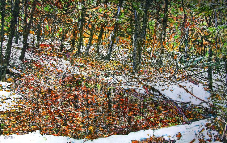 "overnight snowfall 36 boy scout rd - 28"" x 44""   micheal zarowsky -  watercolour / acrylic painted directly on gessoed birch panel"