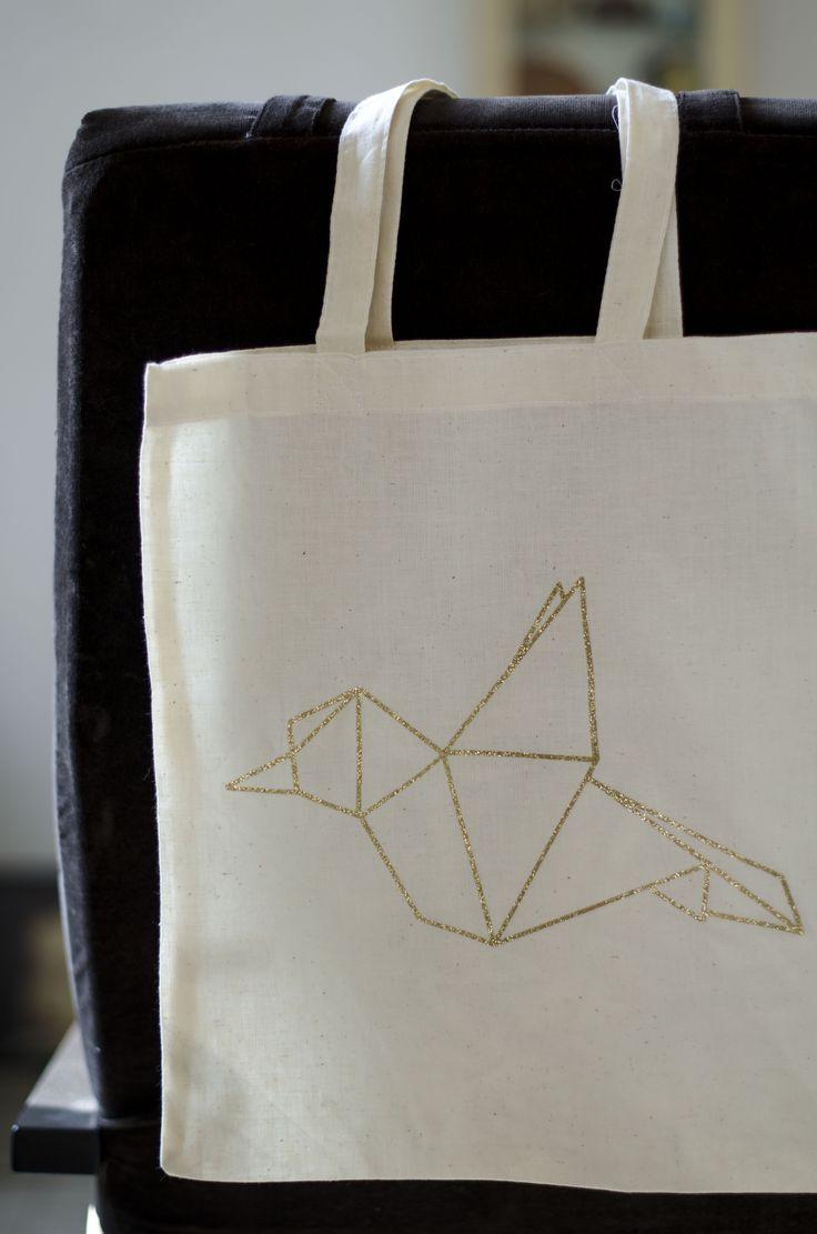 Tote bag origami paillettes réalisé avec la Scan N Cut de Brother