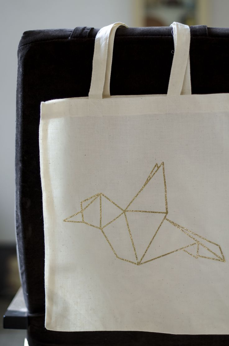 Tote bag origami paillettes réalisé avec la Scan N Cut de Brother