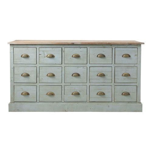 Comptoir multi tiroirs meuble de métier en bois recyclé gris L 165 cm