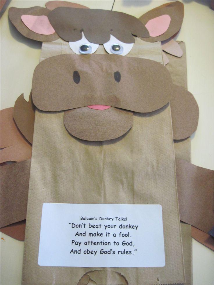 Paper bag donkey puppet for preschool class