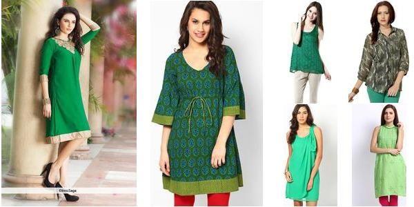 """Green Gig!!"" Awesome list on #kurtis #tops by Swati Pathak #fashion"