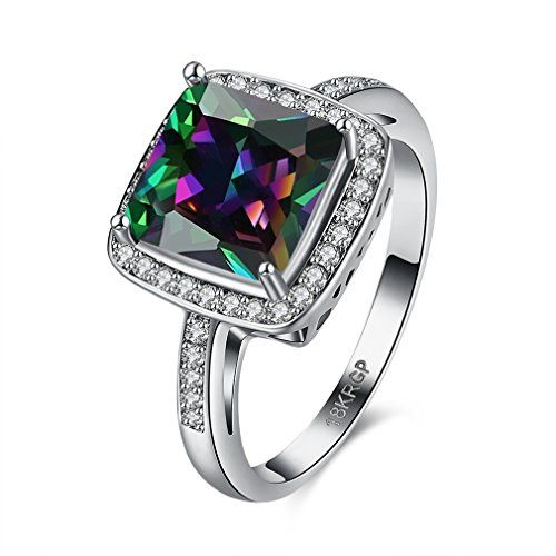 FENDINA White Gold Plated Womens Wedding Engagement Ring Classic Solitaire 18K Rainbow Square Cut Gemstone Mystic Opal Jewelry Ring